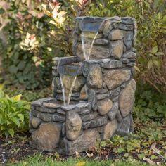3 Tier Rock Outdoor Fountain   Walmart.com $109