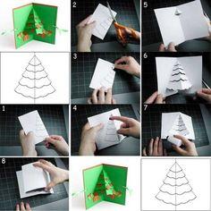 Clever 3D Christmas Tree. - 34 Adorable DIY Christmas Postcard Ideas