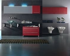 Black And White Bathroom Sets Bathroom Furniture, Modern Furniture, Furniture Design, Grey Bathrooms, White Bathroom, Bathroom Towels, Bathroom Sets, Red Cabinets, Kitchen Cabinets