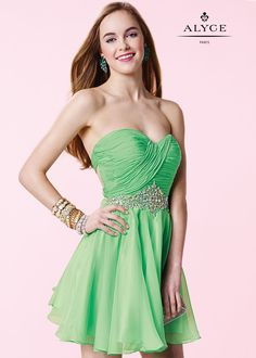 Alyce Paris Short 3643 With this sophisticated short party dress, you're dazzle everyone. This dress features a slight sweetheart neckline with pleated bodice detail, a beaded waist, and crisscross straps in the back. Strapless Cocktail Dresses, Strapless Dress Formal, Evening Dresses, Sophisticated Dress, Elegant, Dresses Short, Formal Dresses, Applique Dress, Chiffon Dress