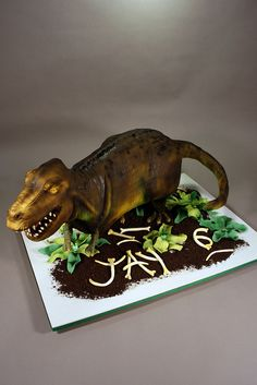 Marble cake with vanilla buttercream. Decorated in fondant, RKT, modeling chocolate and crushed cookies. Buckwheat Cake, Dinosaur Cake, Marble Cake, Modeling Chocolate, Vanilla Buttercream, Savoury Cake, Original Recipe, Clean Eating Snacks, Fondant