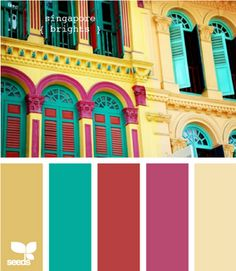 singapore brights Color Palette by Design Seeds Design Seeds, Colour Schemes, Color Combinations, Palette Design, Color Palate, Colour Board, World Of Color, Color Swatches, Color Theory