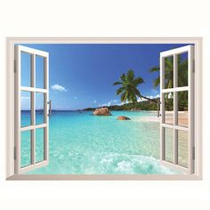 Hawaii Holiday Sea View Beach Window View Decal Wall Sticker at Banggood