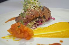 Pan Seared Duck Breast, Pumpkin Puree, Braised Cabbage, Dry Apricot Preserve and Spices Sauce. #cuisine