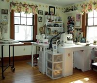 Image of Mr. Tweed's Whimsy Sewing Studio, I really like the way the machines are squared. great way to save space