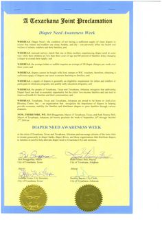 TEXARKANA, TX and TEXARKANA, AR - Mayoral proclamation recognizing Diaper Need Awareness Week (Sep. 26-Oct. 2, 2016) #DiaperNeed Diaperneed.org
