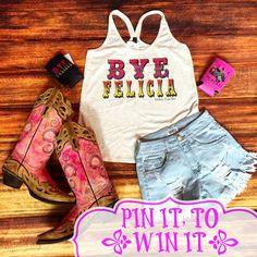 """""""Pin It, To Win It!"""" Bye Felicia Tank!! Simply Pin this photo on one of your boards and comment your full name, size, and state in order to Win It!! All contestants must be registered as a customer on our website. To Order Follow the Link Below: https://www.southernfriedchics.com/"""
