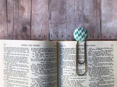Bookmark,Book Mark,Book Clip,Paper Clip,Small Gift,Teacher Gift,Coworker Gift,Teal,Turquoise,Brass Clip,Brass Bookmark,Large Clip Bookmark,