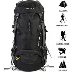 ONEPACK Hiking Backpack Waterproof Backpacking Bag Outdoor Sport Daypack for Climbing Mountaineering Camping Fishing Travel Cycling Skiing with Rain Cover (Black) Camping And Hiking, Camping Gear, Best Hiking Backpacks, Best Travel Backpack, Fish Camp, Mountaineering, North Face Backpack, Cycling, Amazon