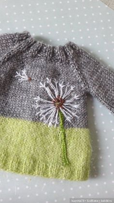 Dandelions in autumn? Why not! Embroidery on knitwear / clothes and shoes for do . - Dandelions in autumn? Why not! Embroidery on knitwear / clothes and shoes for dolls with their own - Knitting For Kids, Baby Knitting Patterns, Baby Patterns, Free Knitting, Knitting Projects, Clothes Patterns, Knit Baby Sweaters, Knitted Baby Clothes, Crochet Clothes