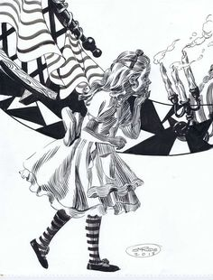 "Modeled after his daughter, Jessica, Steve Rude once again brings Alice alive in pen and ink. 11"" x 14"" on Bristol and brush inked using permanent India Ink. This also includes a copy of the paste up"