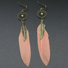 1.85$  Buy now - http://di159.justgood.pw/go.php?t=174514301 - Pair of Feather Round Drop Earrings