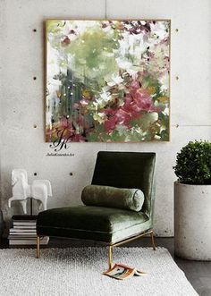 Original green abstract painting, custom oil painting, large canvas art, green red wall art, texture painting for living room by Julia Kotenko - Large abstract acrylic painting wall art wall decor modern painting with texture abstract painting - Red Wall Decor, Red Wall Art, Modern Wall Decor, Art Decor, Room Decor, Large Canvas Art, Large Wall Art, Large Art, Texture Art