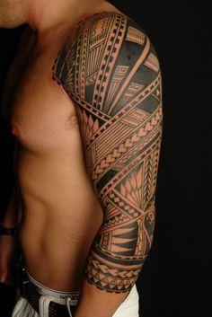 awesome tattoos | tattoo-25-awesome-full-sleeve-tattoo-designs-polynesian-sleeve-tattoo ...