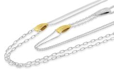 Sterling Silver 925 Chain Necklace with 18kt Gold Plate Sea Urchin Detail