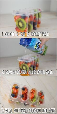 Fresh fruit pops with coconut water -- what a beautiful summer popsicle!
