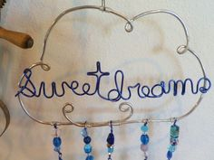 Wire wrapped sun catcher beaded cloud Mobile baby's room sweet deams
