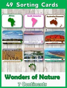 Wonders of Nature Montessori Nature Printable Sorting Continent Cards for preschool and grade 1 children....