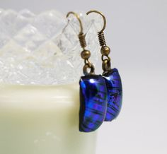 Dichroic Glass Earrings Dangle Earrings Fused by FancyThatFusion
