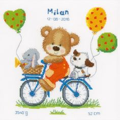 Cycling Little Bear - counted cross-stitch kit Vervaco