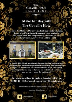 Gonville Hotel Mother's Day poster.