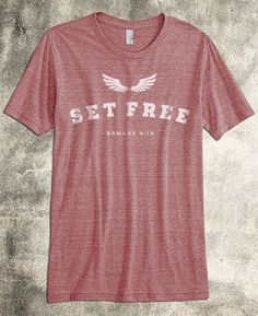 """Set Free Wings"" - Clay Tri-Blend Christian Shirt for men ~ Inspired by Romans 6:18 ~ This ultra-soft, modern Christian tshirt is stylish, fashionable and slim-cut ~ A fantastic Christian gift idea for him (or her)."