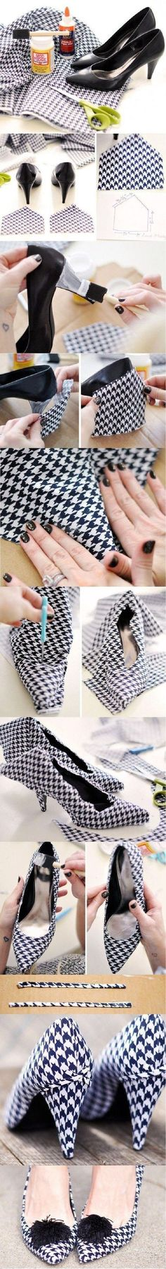 Without the pom pom and different fabric Top 10 Unique DIY Heels Ideas. These are the best ideas I've seen for changing shoes. There are some really ideas here. Diy Fashion, Ideias Fashion, Fashion Shoes, Fashion Fabric, Runway Fashion, Fashion Trends, Fashion Diva Design, Shoe Makeover, Diy Kleidung