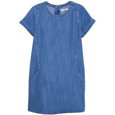 Mango Soft Denim Dress, Blue (€55) ❤ liked on Polyvore featuring dresses, vestidos, short sleeve dress, maxi dress, mini dress, short dresses and short blue dresses