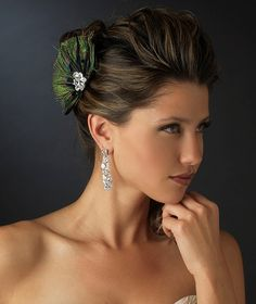Peacock Feather and Crystal Hair Clip - sale! - Affordable Elegance Bridal -