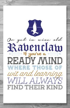 Ravenclaw Typography Quote Poster by Shaileyann on Etsy