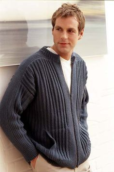Free knitting pattern - Man's Zip-Up Jacket in Rowan All Seasons Cotton…