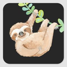 Shop Jungle Sloth Cute Whimsical Square Sticker created by ValarieDesigns. Cute Sloth, Animal Birthday, Animal Heads, Different Shapes, Art For Kids, Custom Stickers, Whimsical, Art Pieces, Diy Projects