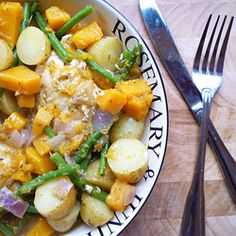 A simple and tasty casserole with chicken, butternut squash and green beans.