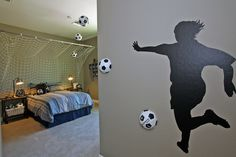 Favorite Sports Theme Bedroom ~ This is the Coolest Sports Themed Bedroom I've Ever Seen ~ So Awesome! Soccer Bedroom, Kids Bedroom, Soccer Theme, Bedroom Themes, Bedroom Ideas, Cool Rooms, Boy Room, Phoenix, Ranch
