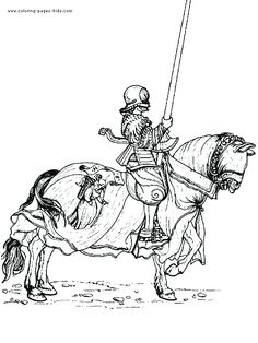 IColor Medieval Knight On A Horse With Pike