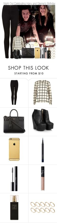"""""""Night Out Celebrating Harry and Glenne's  Birthday"""" by elise-22 ❤ liked on Polyvore featuring Topshop, River Island, Yves Saint Laurent, Missguided, Goldgenie, MAC Cosmetics, shu uemura, NARS Cosmetics, Robert Piguet and ASOS"""