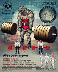 trap exercise: barbell shrugs trapzilla