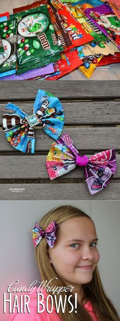 CANDY WRAPPER CRAFTS WEEK!   CANDY WRAPPER Hair Bows or Bowties!     Upcycle those bags of candy into adorable hair or neck accessories!...