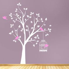 tree with bird cage wall sticker by parkins interiors | notonthehighstreet.com