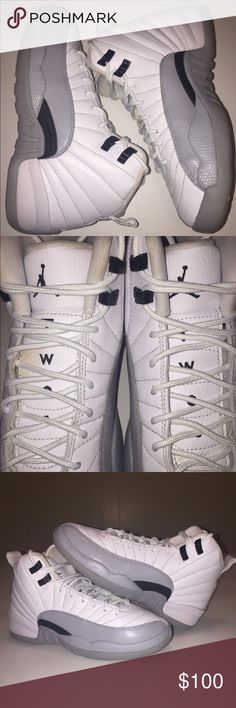 153f6562e54f AIR JORDAN 12 RETRO XII WOLF GREY BARONS SIZE 6Y 100% AUTHENTIC PRE-OWNED  NO BOX MINT CONDITION 10 9 DOES HAVE A SMALL LIGHT ORANGE SPOT ON THE LEFT  TONGUE ...