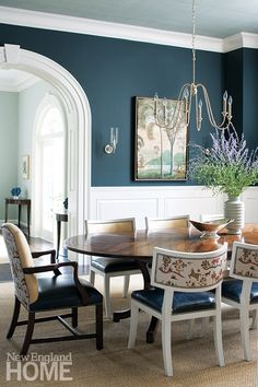 blue dining rooms. Time  Again A Georgian Home Revival New England Magazine Grey Dining RoomsBlue Love blue dining rooms Sherwin Williams Foggy Day is a nice muted