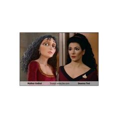 Mother Gothel Totally Looks Like Deanna Troi | Random Overload ❤ liked on Polyvore featuring disney