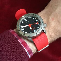 Seeing red. A Sinn U1 on Page and Cooper Red Rubber NATO. See our range on our website. #pageandcooper #sinn #watches