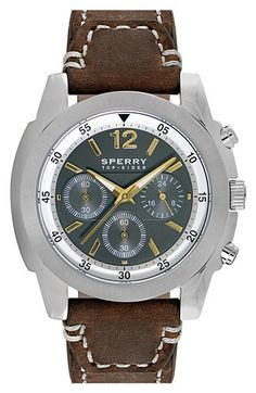 Men's Sperry Top-Sider 'Pilot' Chronograph Leather Strap Watch,