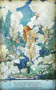 You'll love the 'Water Fairy' by Harold Gaze Painting Print at Wayfair. The rich colors on this fairy fantasy art print are so delightful. Fantasy Kunst, Fantasy Art, Water Fairy, Art Manga, Photo D Art, Vintage Fairies, Vintage Mermaid, Alphonse Mucha, Fairy Art