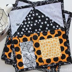 Haunted House Mug Rugs featuring Halloween Magic fabric designed by Bella Blvd for Riley Blake Designs #iloverileyblake