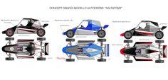 Questi concept sono stati studiati per allestire la grafica della monoposto da gare per autocross SALTAFOSSI.