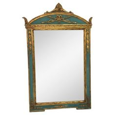 Check out this item at One Kings Lane! Gold & Turquoise Giltwood Italian Mirror