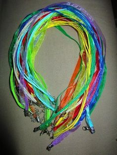 '(50) Multicolored Organza Silk Necklaces' is going up for auction at 11am Thu, Jul 4 with a starting bid of $1. Organza Ribbon, Silk Organza, Color Mixing, Auction, Jewelry Making, Necklaces, Pink, Beads, O Beads