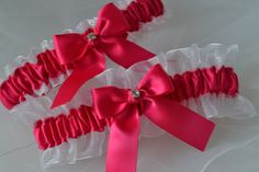 Wedding Garter Set Fuchsia Pink and White Sheer by ElegantGarters, $26.00